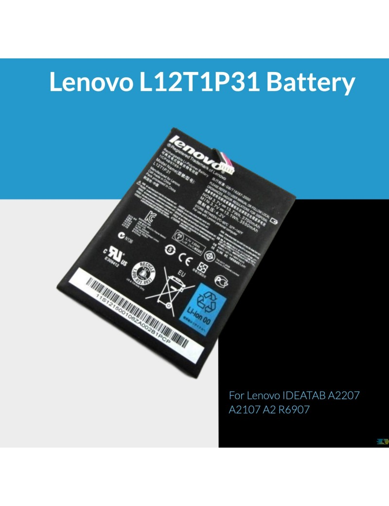 Lenovo L12T1P31 Battery For Lenovo IDEATAB A2207 A2107 A2 R6907 New OEM
