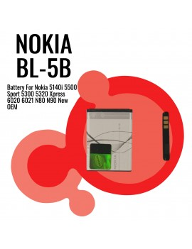 Nokia BL-5B Battery For Nokia 5140i 5500 Sport 5300 5320 Xpress 6020 6021 N80 N90 New OEM